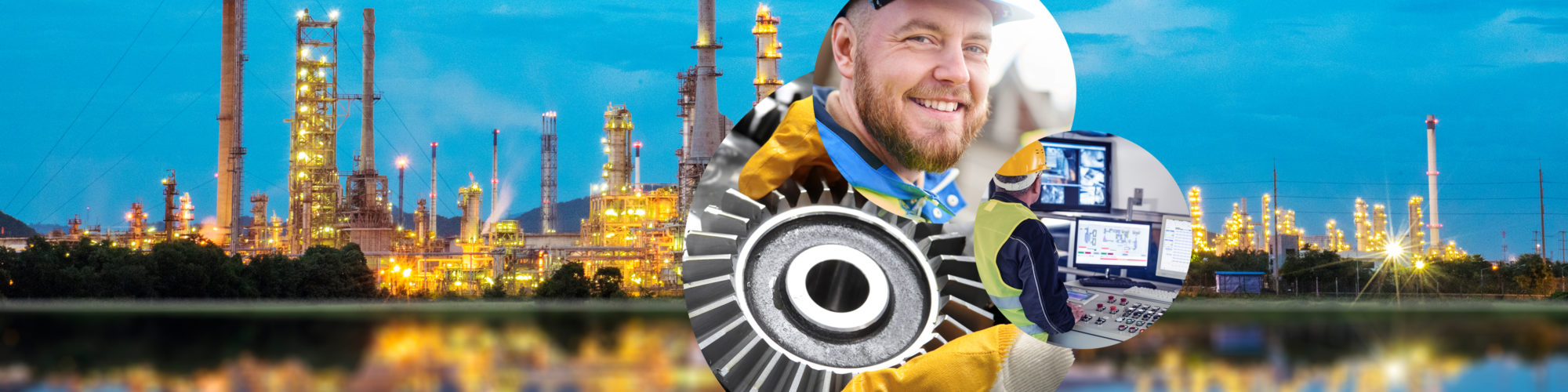 Image of a man with a hard hat, next to it a gear wheel and a man in safety vest in front of computer monitors, in the background a large industrial plant, valantic industry overview