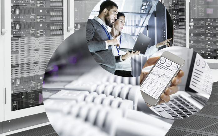 Picture of a data center, various cables, two people with a laptop in a data center and a mobile phone, valantic Division Digital Strategy