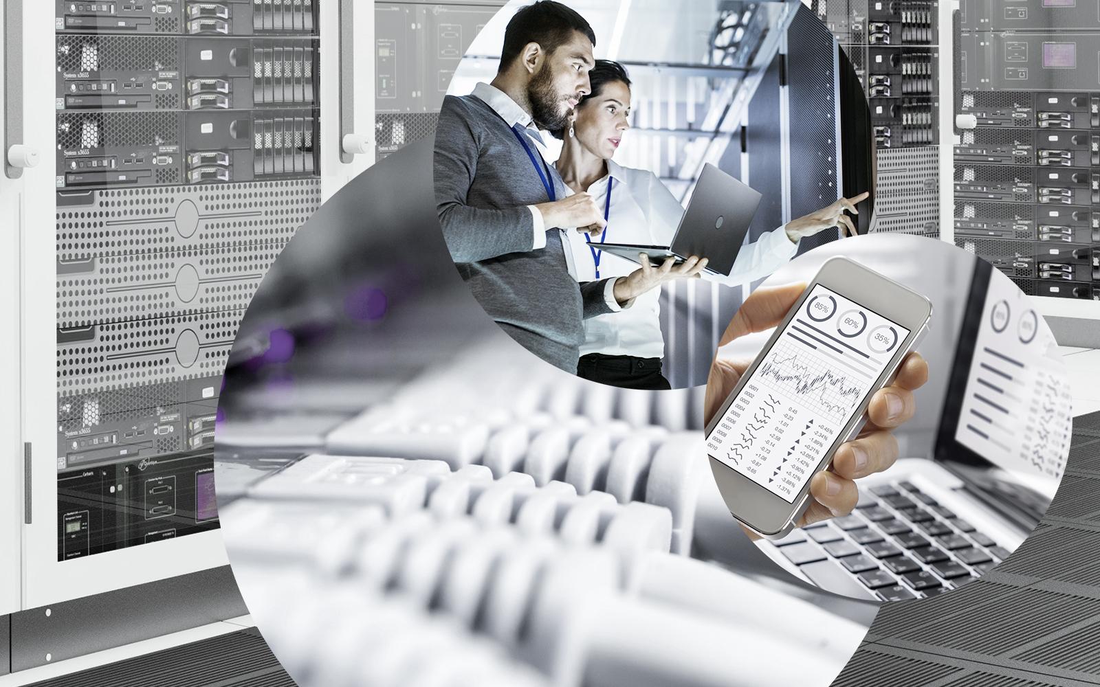 Bild eines Rechenzentrums, verschiedener Kabel, zwei Personen mit Laptop in einem Rechenzentrum und ein Handy, valantic Division Digital Strategy