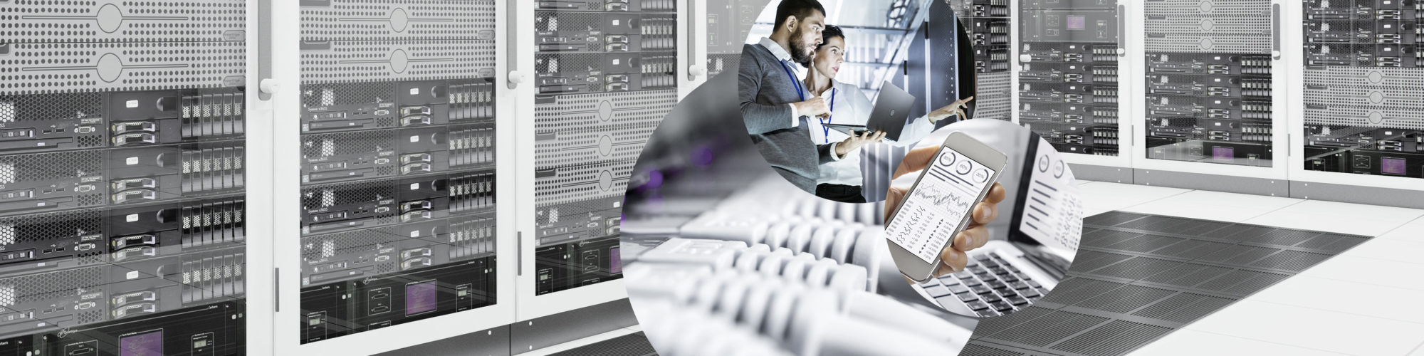 Picture of a data center, structured cabling, a laptop and a cell phone and two people standing with a laptop in a data center, valantic Division Digital Strategy