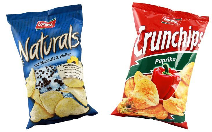 picture of two potato chips bags from Lorenz, Crunchips and Naturals, valantic Case Study Lorenz Chips