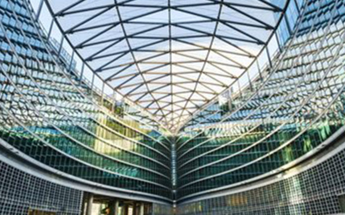 Picture of a glass roof, valantic Case Study Mesago