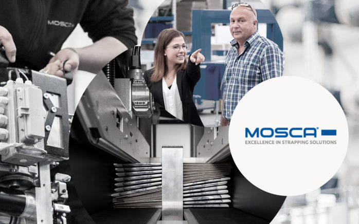 Picture of two persons, next to it the Mosca logo and behind it pictures of machines, valantic Case Study Mosca