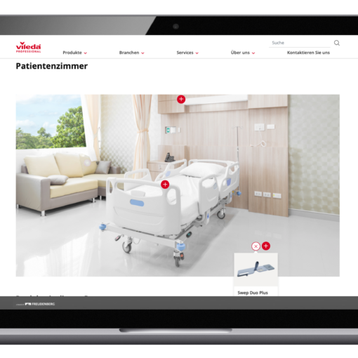 Image of the vileda website with a picture of a patient's room, valantic case study