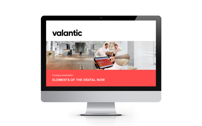 Image of a screen showing the valantic company presentation