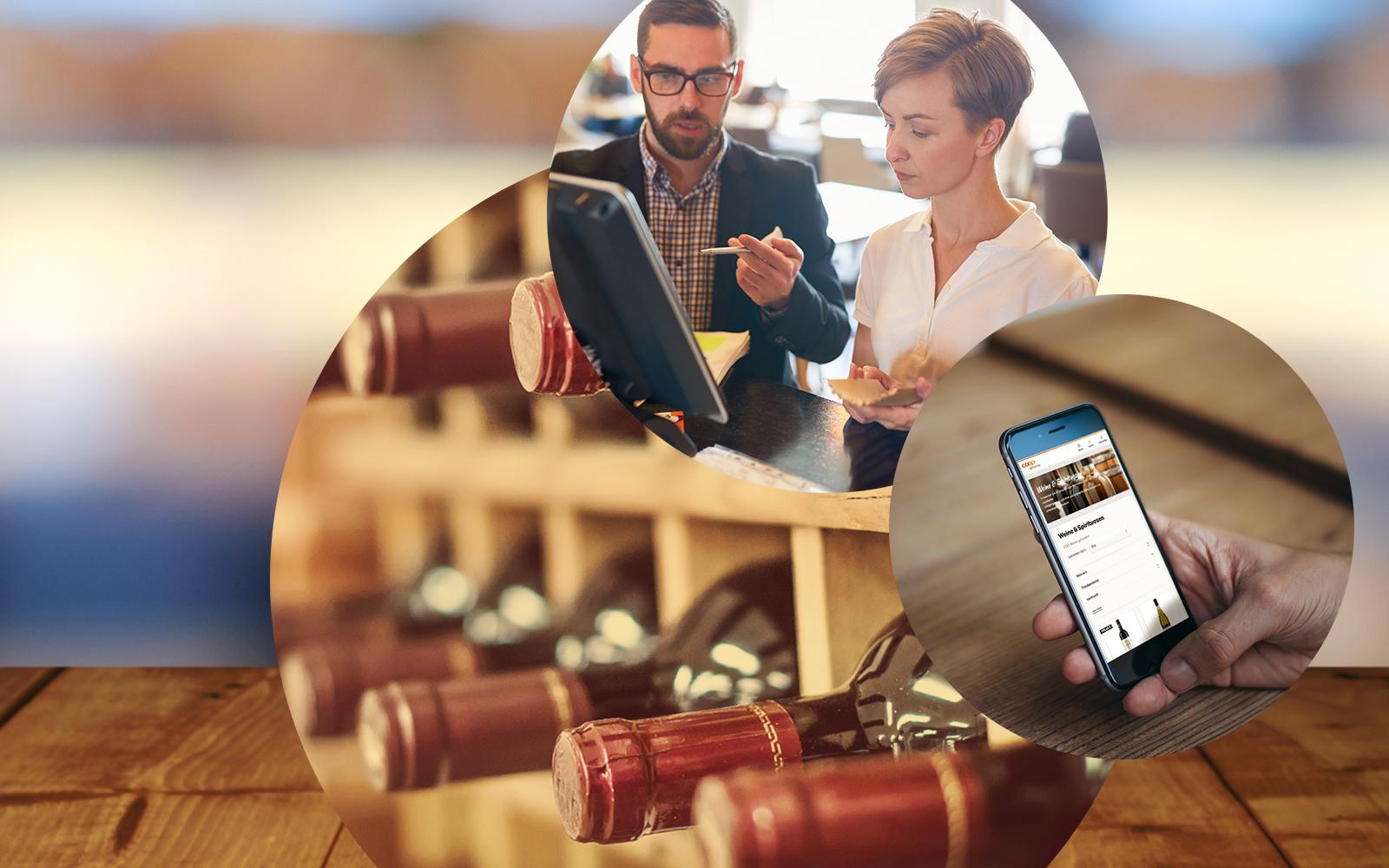 Bild von Weinflaschen in einem Weinregal, einem Handy, auf dem ein Onlineshop geöffnet ist sowie von zwei Personen in einem Beratungsgespräch, valantic Customer Experience (CX)