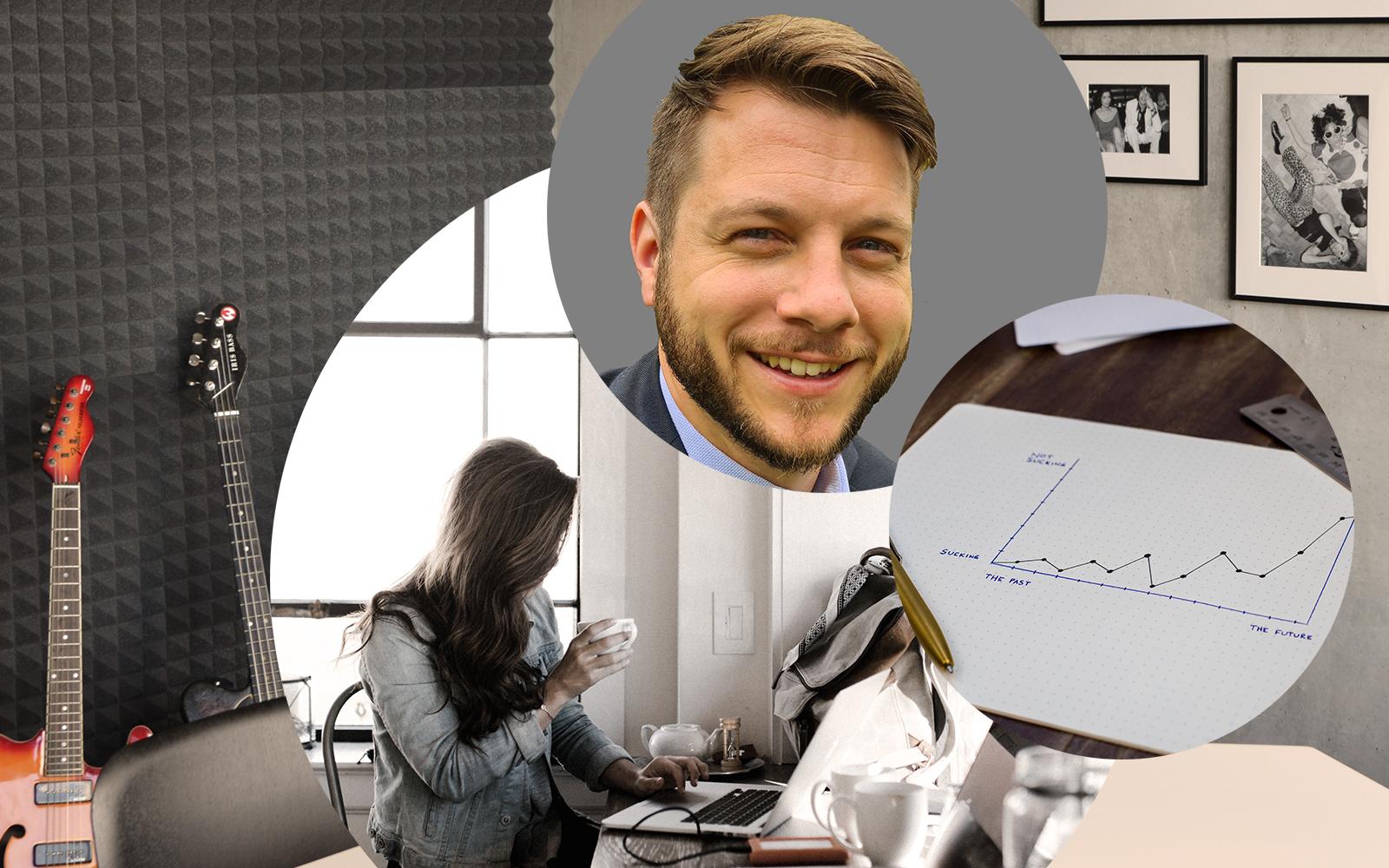 Bild von Fabian Littau, valantic, daneben eine Zeichnung und eine Frau, die in ihren Laptop schaut, digitale Vertriebsstrategien