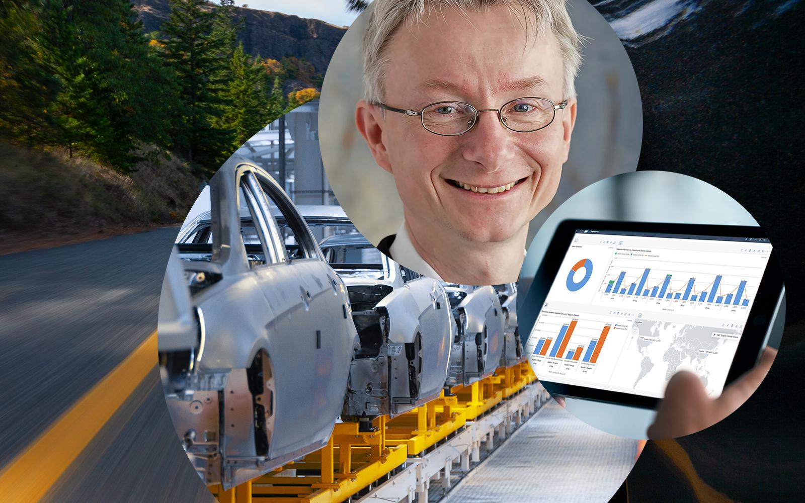 Bild von Ingo Hoepfner, daneben Bild von einem Tablet auf dem Grafiken und Statistiken zu sehen sind und dahinter Bilder von Autoteilen in einem Lager und von einer Straße, TISAX Zertifizierung für valantic