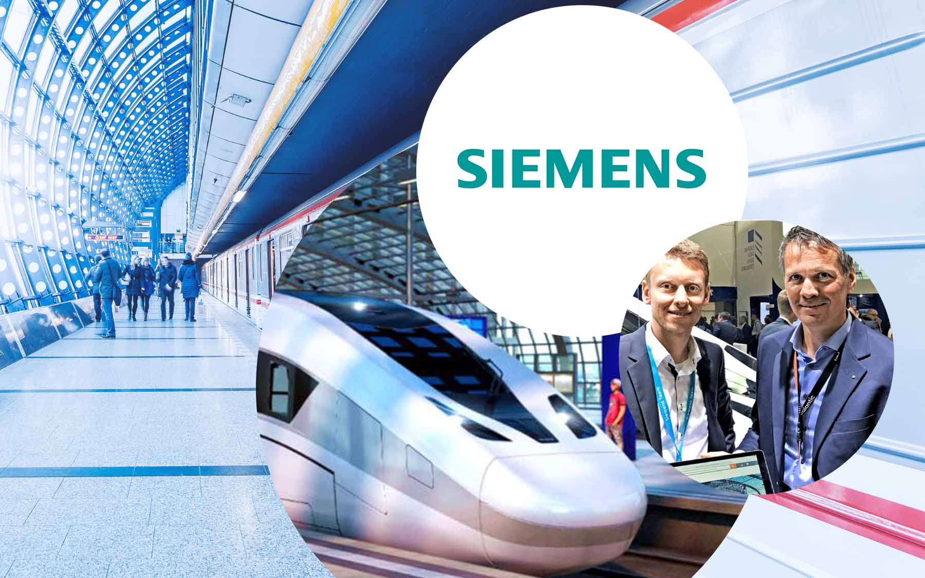 Logo of Siemens AG, next to it a picture of two men at an event and behind it pictures of a train and a station, valantic Siemens digital marketplace