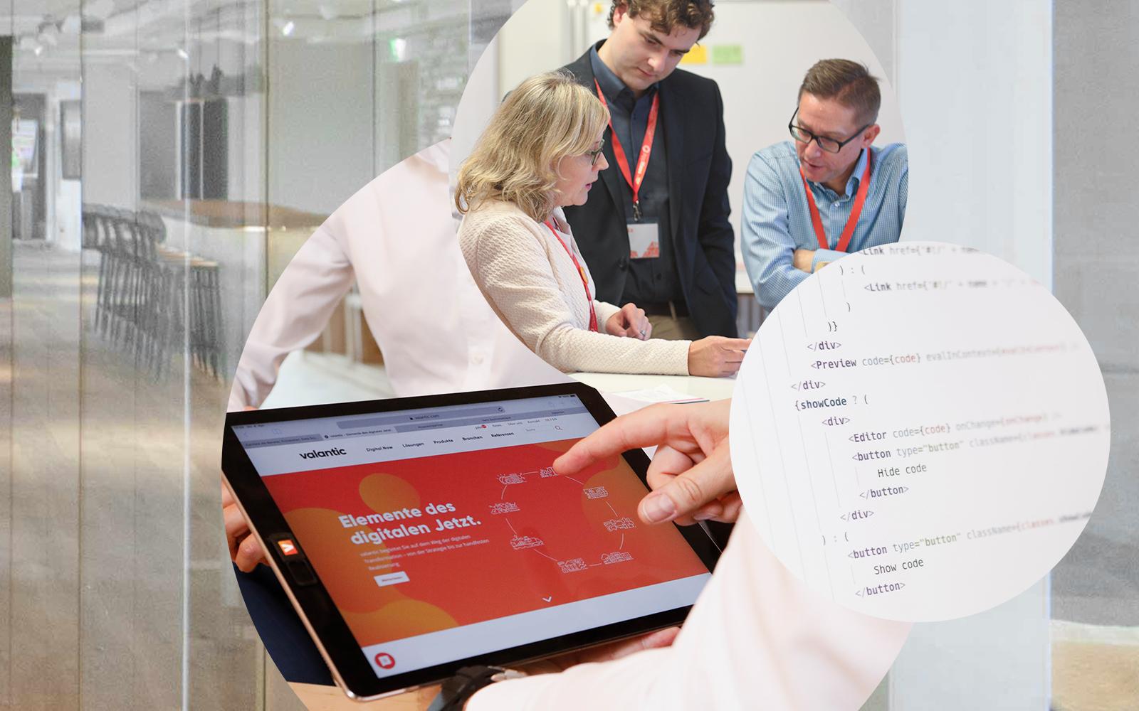 Das Bild zeigt eine valantic Arbeitssituation, Menschen an Stehtischen, mit Tablet und Programmiercode