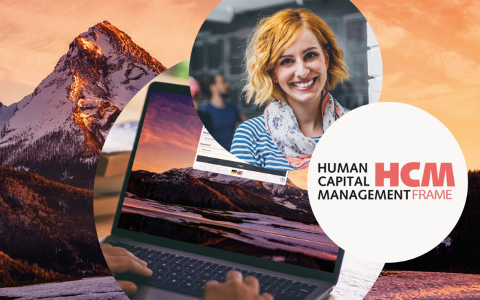 Bild von einer lachenden Frau, daneben HCM Frame Logo und dahinter Bild von einem Laptop und Bild von Bergen bei Sonnenaufgang, valantic HCM Frame