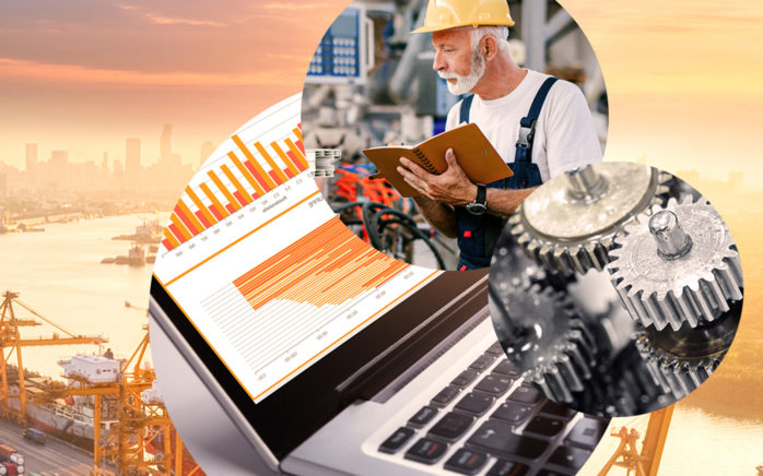 Picture of a man in a factory, next to it a picture of gears and behind it a picture of a screen with diagrams and graphics and a picture of a port with containers, valantic KPI management with wayKPI