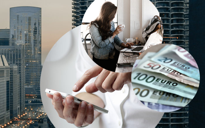 Image of a woman sitting in front of a laptop and drinking coffee, a cell phone, euro banknotes and the skyline of a city in the background, valantic, Robotic Process Automation (RPA)