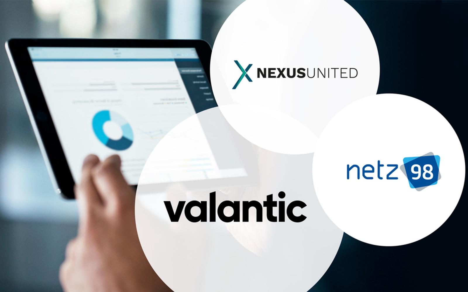 Bild eines Tablets mit einer Infografik, davor die Logos von netz98, NEXUS United und valantic