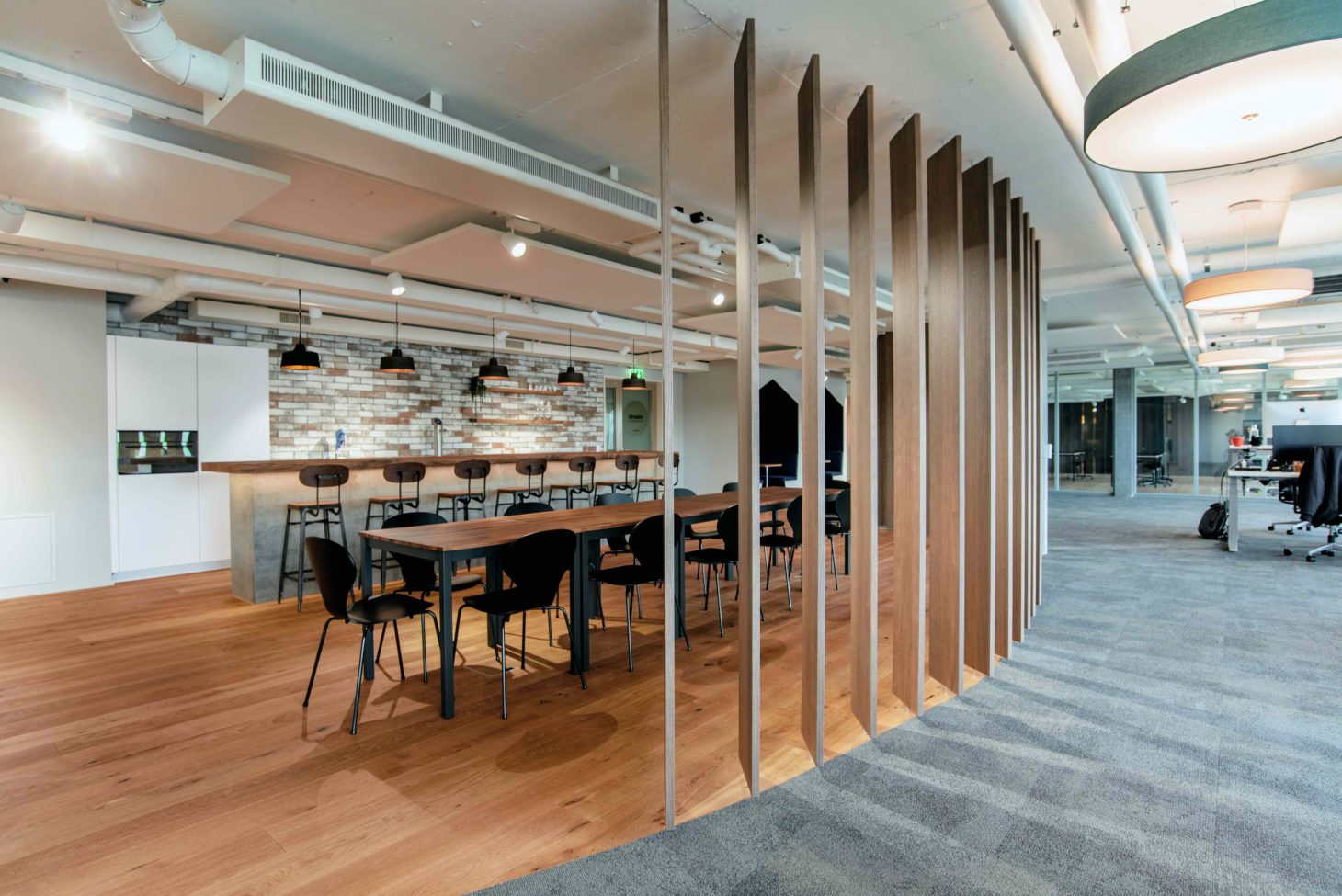Dining area and kitchen at valantic Customer Engagement & Commerce in Switzerland, St. Gallen