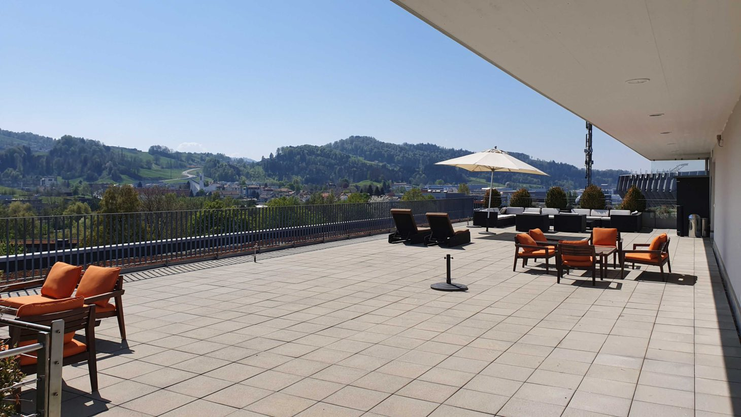 Image of a roof terrace and view, valantic Customer Engagement & Commerce St. Gallen branch