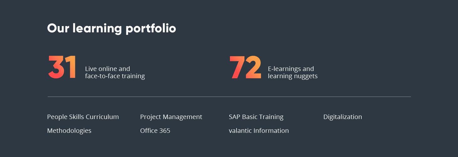 Infographic on valantics learning portfolio, People Development at valantic