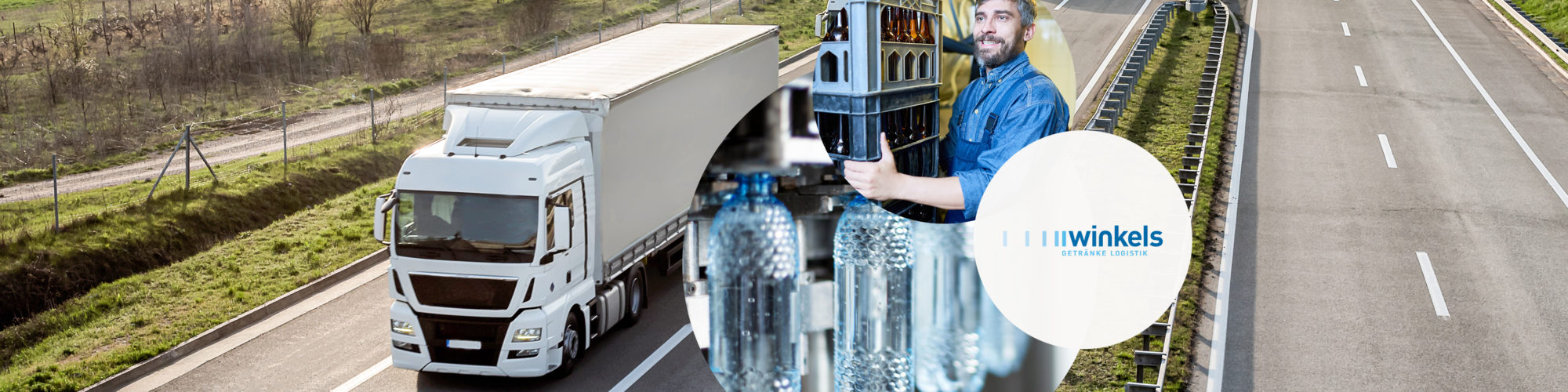Image of a truck and a man who carries crates of drinks, including a picture from the production of the drinks manufacturer Winkels