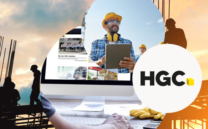 Image of a construction worker with a tablet and the logo of HGC, valantic case study: e-commerce & corporate platform for HGC with SAP Commerce Cloud