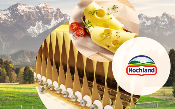Picture of cheese production machines, next to it the Hochland logo, valantic case study: Hochland chooses greenfield approach for its SAP S/4HANA migration