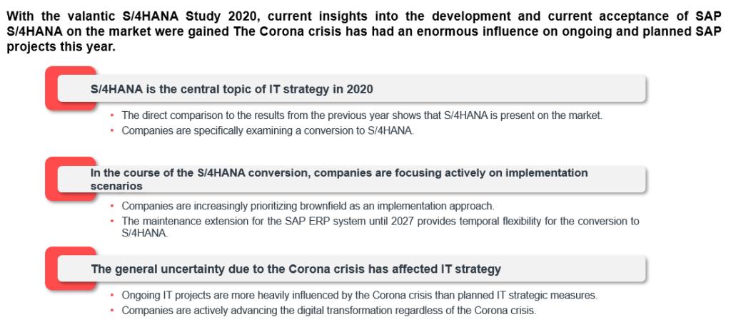 valantic S/4HANA Study 2020 results