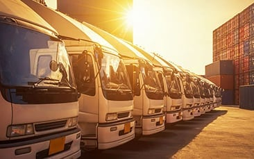Picture of trucks, valantic SAP logistics solutions