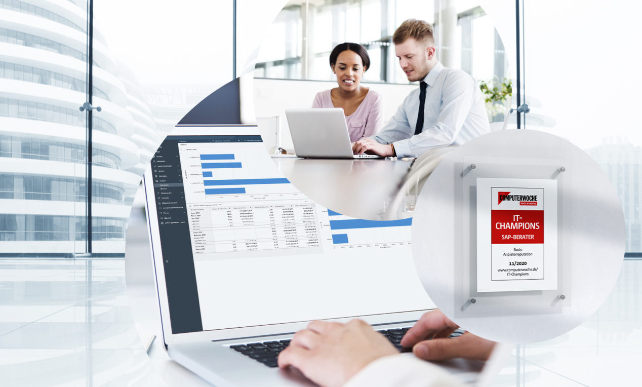 Image of two people sitting together in front of a laptop, with the Computerwoche IT Champions seal next to it