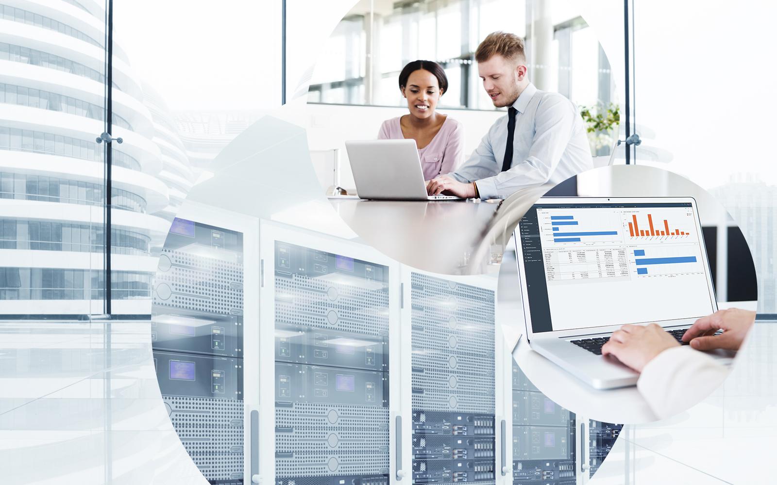 Bilder von 2 Büroangestellten, die vor einem Laptop sitzen, Bild eines Laptops mit SAP Screenshot vor einem Großrechner in einem Rechenzentrum