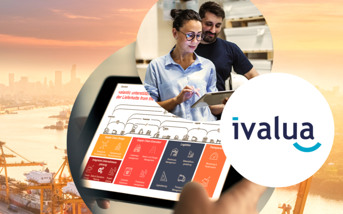 Picture of two people with a tablet, an industrial port and the ivalua logo: valantic and Ivalua conclude strategic partnership