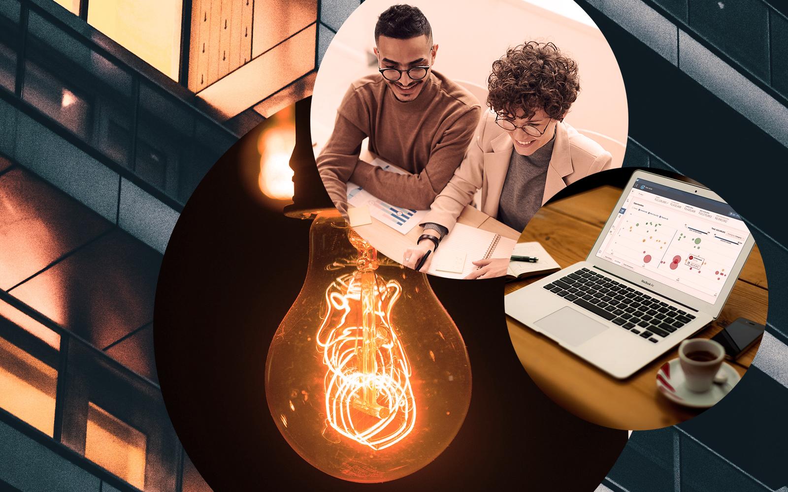 Bild von zwei Personen, die Notizen vor sich liegen haben, daneben in einem runden Bildausschnitt ein aufgeklappter Laptop sowie eine Glühbirne