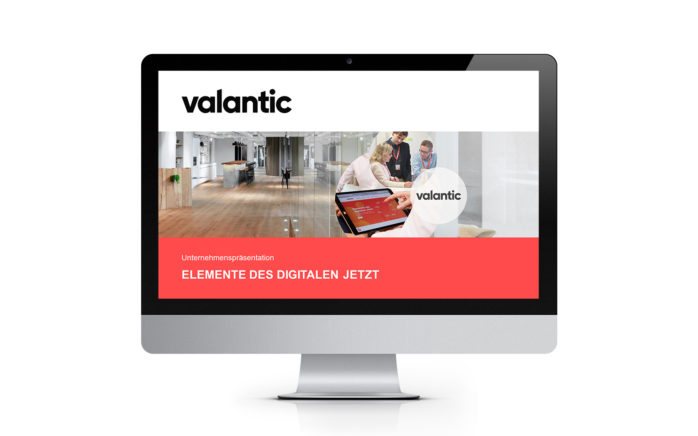 Image of a laptops screen showing the valantic company presentation