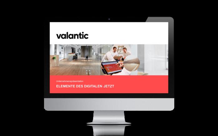 Bild eines Laptops mit der valantic Unternehmenspräsentation, valantic Unternehmenspräsentation