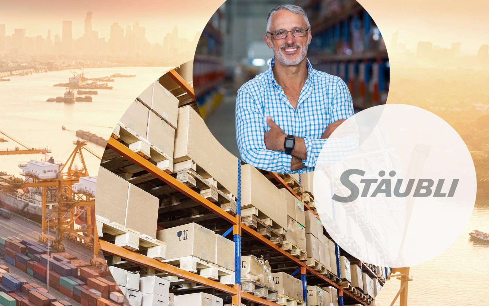 Die Firma Stäubli beauftrag valantic - Bild eines Mannes in einem Hochregallager, Logo der Firma Stäubli, Pakete, alles vor einer Hafenkulisse