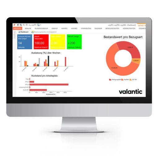 Image of a computer screen of valantics waySuite software