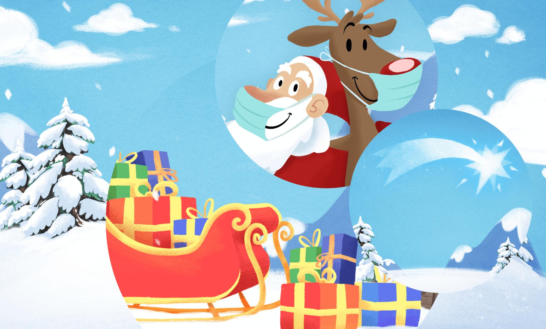 Das valantic Weihnachts-Duo aus Weihnachtsmann und Rentier neben ihrem Schlitten mit Geschenken vor einer weißen Schneelandschaft