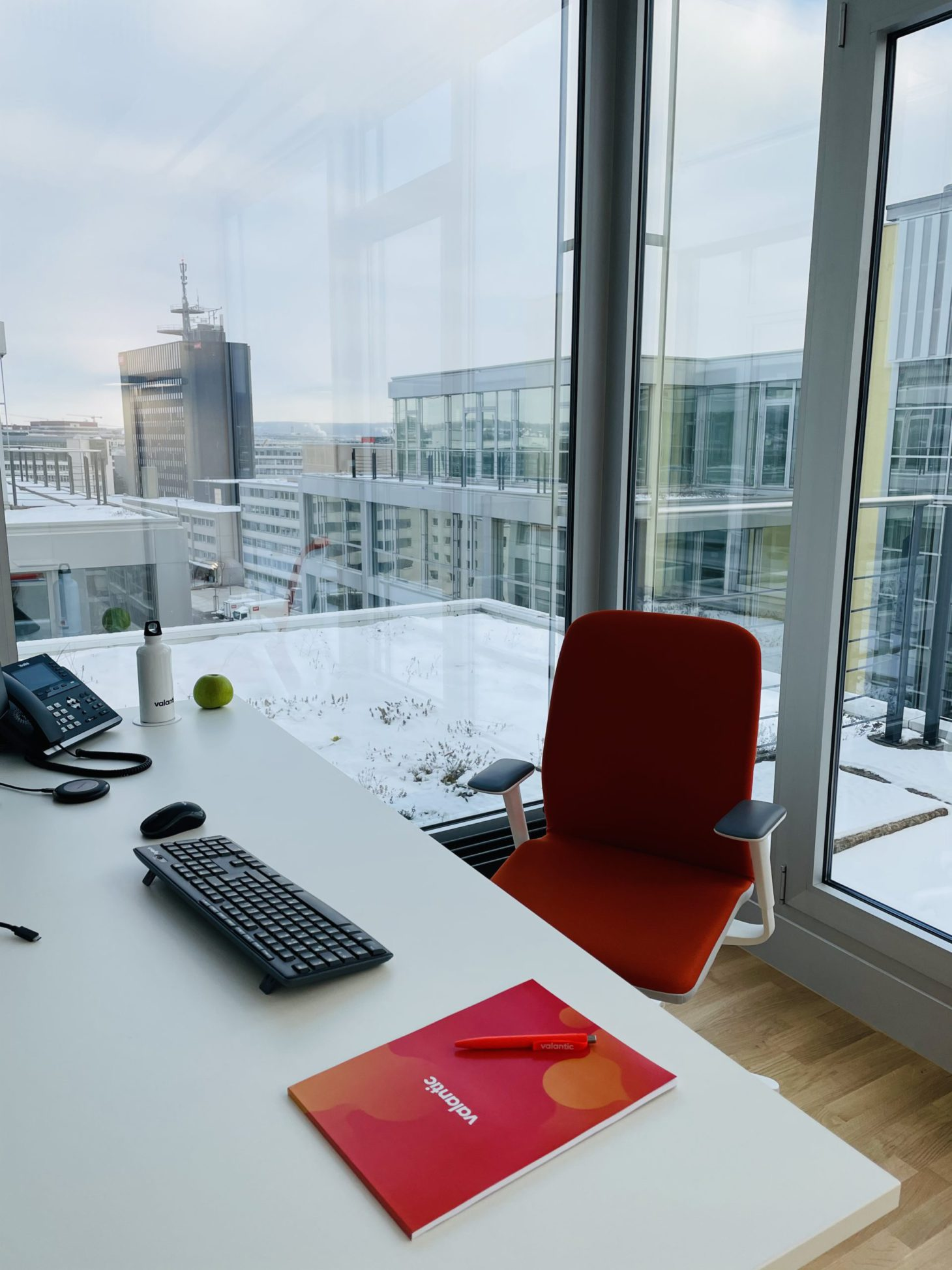 Image of an office desk of the valantic Zurich branch with a window view