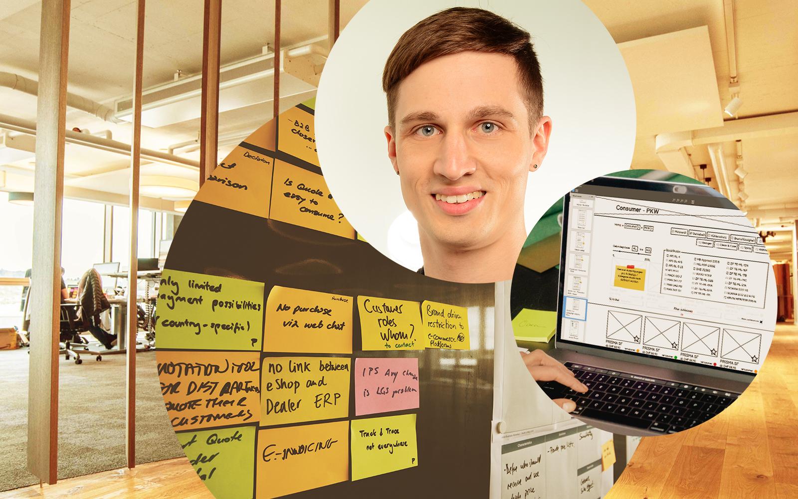 Bild von Vincent Aniol, RE-UX-Consultant bei valantic CEC Schweiz, daneben das Bild eines Laptopbildschirmes sowie einiger Notizzettel