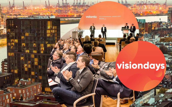 "Picture of several people on a stage, next to it a picture with the inscription ""visionsdays"" and behind it a picture of an applauding audience and a picture with a city view of Hamburg, valantic visiondays 2020 Hamburg"