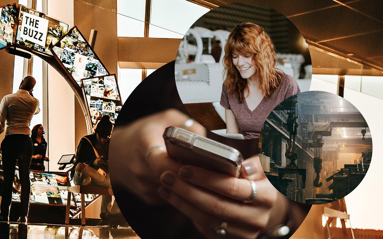 Bild eines Handys, einer lachenden Frau, sowie einer Lagerhalle, valantic Customer Relationship Management