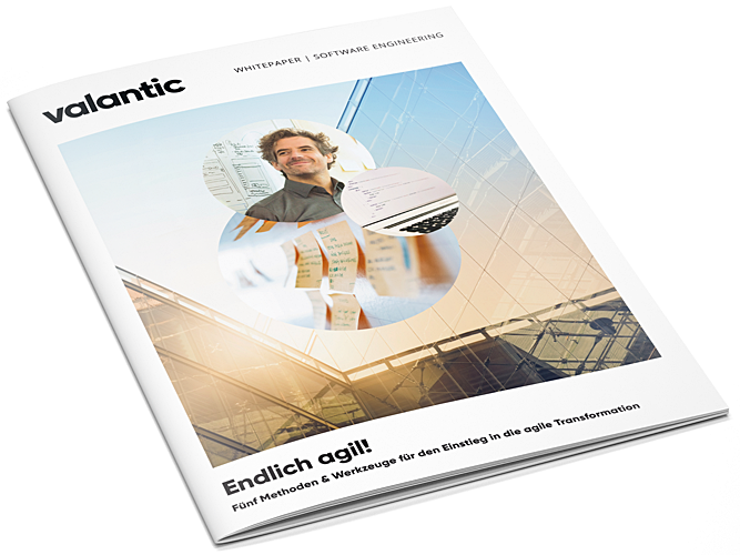 """Bild einer Zeitschrift, valantic Whitepaper """"Endlich agil! Fünf Methoden und Werkzeuge für den Einstieg in die agile Transformation"""""""
